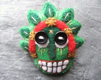 Padded Eco Felt Mask Brooch Pin - Applique Embroidery - Green - Red - Buttons - Recycled - Vegan