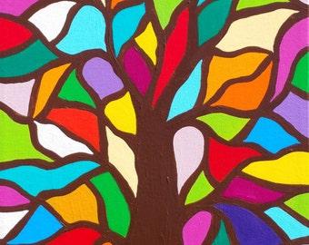 Kerri Ambrosino Art NEEDLEPOINT Mexican Folk Art  Tree of Life Flowers Rainbow