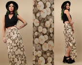 90s Vtg Escargot SURREAL Snail Print COLUMN Maxi Skirt /Taupe Psychedelic Op Art Mod Ribbed Skirt / Sm - Med