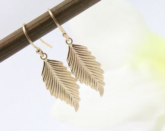 Leaf Earrings- Gold Drop Earrings- Charm Leaf Earrings-  Gold Leaf Earrings- Dangle Earrings- Gold Charm Earrings- Leaf Leaves