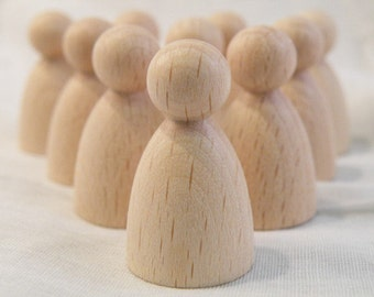 38mm tall  rounded shaped x 10 unfinished wooden peg dolls for crafting