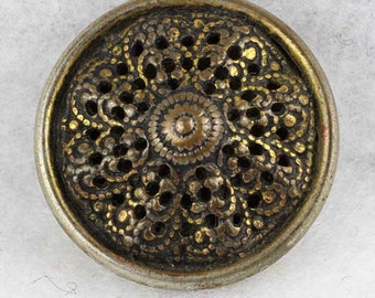 Vintage Pierced Brass Button Peaked Wavy Filigree 11/16 inch 18mm Metal Sewing Button
