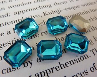 6 glass jewels, 10x8mm, aqua blue, octagon
