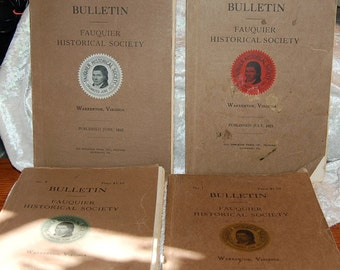 4 Antique Historical Bulletin's-Fauquier County, VA 1921 to 1924