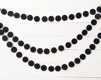 Black felt circle garland - {stiffened felt} - custom colors option available