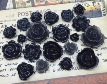 20x Resin Flower Cabochons - Black