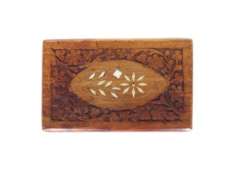 Boho Wood Hinged Trinket Storage Stash Box with Flower Carving and Inlay