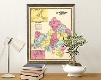 Mount Pleasant map - Old map of Mount Pleasant print - Fine reproduction