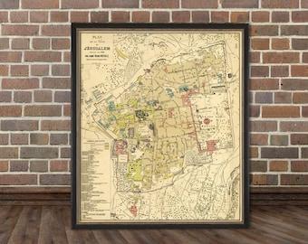 Jerusalem map - Historic map of Jerusalem - An old map restored printed on archival matte paper