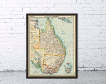 Eastern  Australia  map - Old map archival print -
