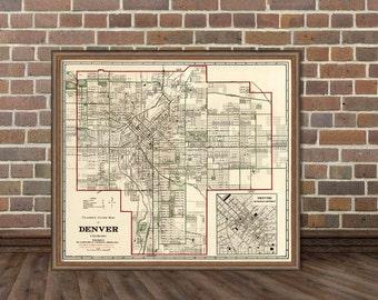 Denver map  - Vintage map of Denver - Old map restored - Wall map giclee print