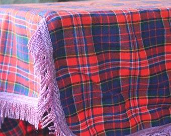 Handmade Picnic Tablecloth Tartan Plaid with Lavender Fringe
