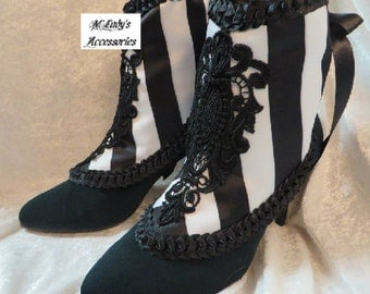 SPATS GAITERS SHOE Covers in Black White Stripe Satin with Tucked Black Satin and Black Appliques Bridal Victorian Steampunk Reenactment