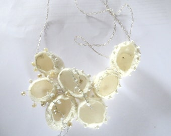 Silk Cocoon Necklace Jewelry art Mothersday White bride bridesmaids wedding textielfestival