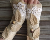 Custom  made for you- Custom designed Cream and white Folkowl Acorn Cuffs - Faerie Cuffs - Vintage lace cuffs -