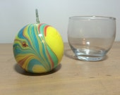 Medium Round Yellow Green Red and Blue Marbled Candle