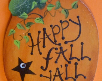 Thanksgiving Autumn Pumpkin Pin/Magnet Fall Hand Painted Wood