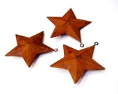 Primitive Rusty Stars, Rustic 3-Dimensional Metal Star Christmas Ornaments, Western Americana Prim Craft Supply Set of 3
