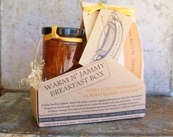Warm & Jammy Gift Box -- Honeyed Citrus Marmalade and Almond Nutmeg Scone Mix