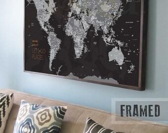 Black world map etsy push pin travel map world travels map map art world map canvas gumiabroncs Choice Image