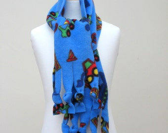 Polar Fleece Fringe Scarf - Blue with Diggers and Trucks, Winter Scarf, Warm Scarf, Children Scarf