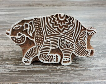Elephant Stamp: Block Stamp, Hand Carved Wood Stamp, Printing Block, Ceramic Textile Pottery Clay Stamp, India