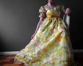 Vintage 70s Yelow Orange Green Floral Maxi Dress Dolly Style Maxi Small