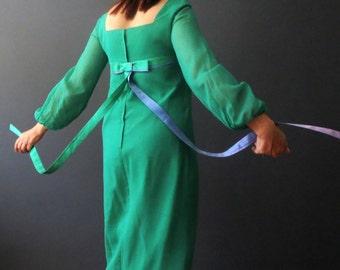 Vintage 60s Maxi Dress French Empire Line Emerald Green Chiffon Maxi Dress Small