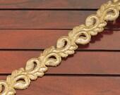 2.75 Yards Golden Fabric Trim Embroidered Trim Gold Thread Cut Work Sari Border Indian Designs Trims-Crazy Quilts Fabric Trim-India Trim