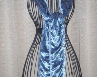 Blue Snakeskin Fleece Scarf blue fleece with blue faux snakeskin fabric