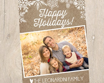 Kraft Paper Holiday Photo Card- Digital