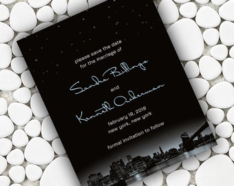 New York City Skyline Save the Date Cards, NY City and Night Stars, Black with Custom Pale Color Accent, City Wedding, Manhattan Wedding