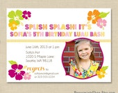 Hawaiian Luau Invitation with Photo, Birthday Party, 1st Birthday, Beach Party, Printed Invitation or DIY Printable