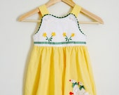 Vintage 4T girls jumper spring dress Geese and flowers