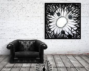 Black and white abstract art & Swarovski®. Black and white wall art. Black and white abstract painting. Black and white home decor Lydia Gee