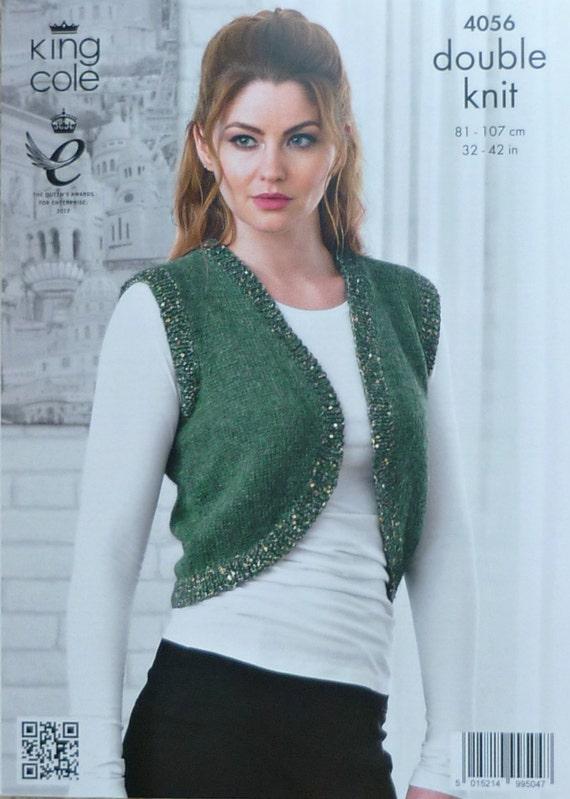 Knitting Pattern Ladies Sleeveless Cardigan : Womens Knitting Pattern K4056 Ladies Sleeveless Bolero