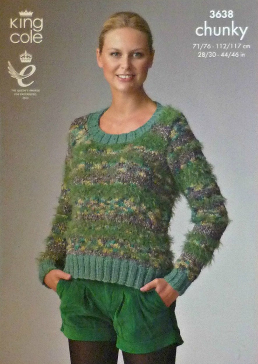 Womens Knitting Pattern K3638 Ladies Long Sleeve Scoop Neck Jumper Knitting P...