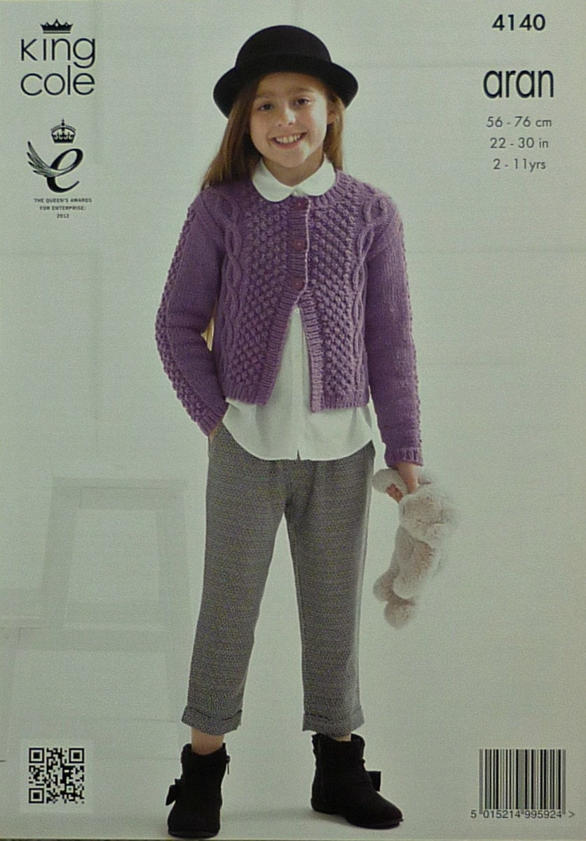 7af83a928c9b Childrens Knitting Pattern K4140 Childrens Long Sleeve Cable and ...