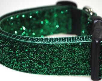 "Emerald Glitter 1.5"" Width Adjustable Collar"