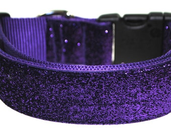"Deep Purple Glitter 1.5"" Width Adjustable Collar"
