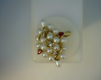 14K Yellow Gold Cluster Ring, 13 Pearl, 2  Rubies, and 4 Round Diamonds, Vintage, Noteworthy Estate of Actress Kathy Bates, Size 5 3/4
