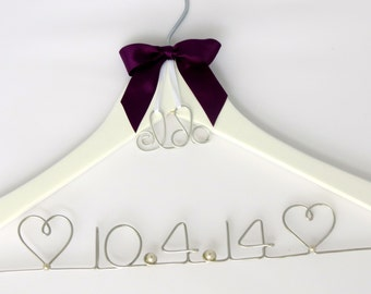 Hanger For Wedding Dresses, Monogram or Heart Charm, Wedding Gift, Wedding Hanger