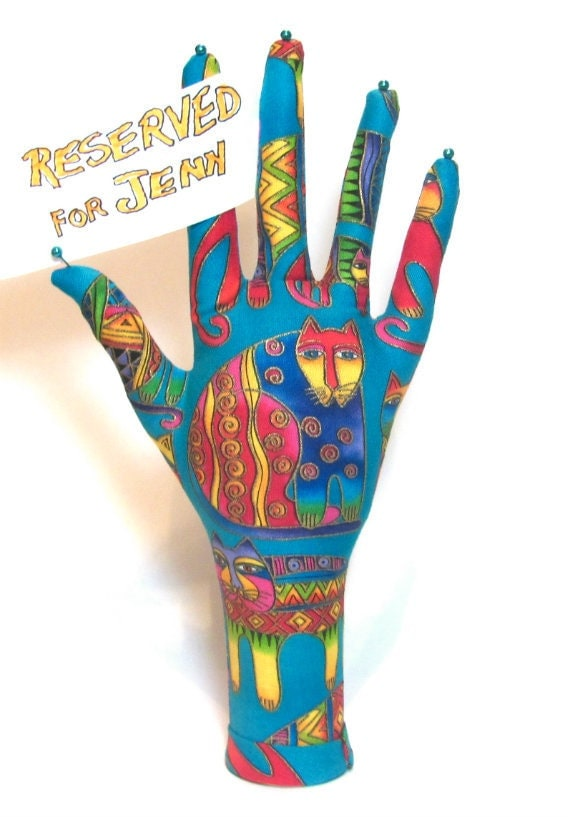 RESERVED for Jenn - TALL WristStyle Laurel Burch Colorful Cats Aqua Fabric Jewelry Display HAND-Stand
