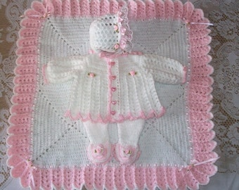 Crochet Baby Girl  Sweater Set Layette with Fancy Feet Leggings, Bonnet and Blanket Perfect for Baby Shower Gift or Coming Home Outfit