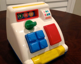 Fisher Price Cash Register Toy for toddlers 1992 with ringing bell
