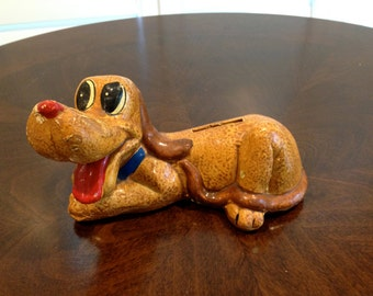 Vintage Arnart  BANK ceramic PLUTO dog disneys favorite dog