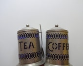Vintage Hammered Silver Plate Tea and Coffee Canister Set 1970s