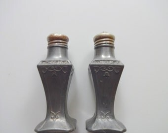 Vintage Pewter Salt and Pepper Shakers 1950s