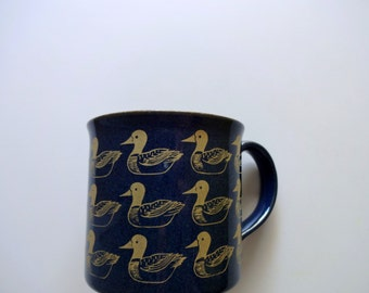 Vintage Duck Pattern Coffee Mug 1980s