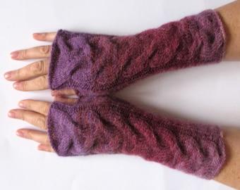 Fingerless Gloves Violet Purple Blue Turquoise wrist warmers
